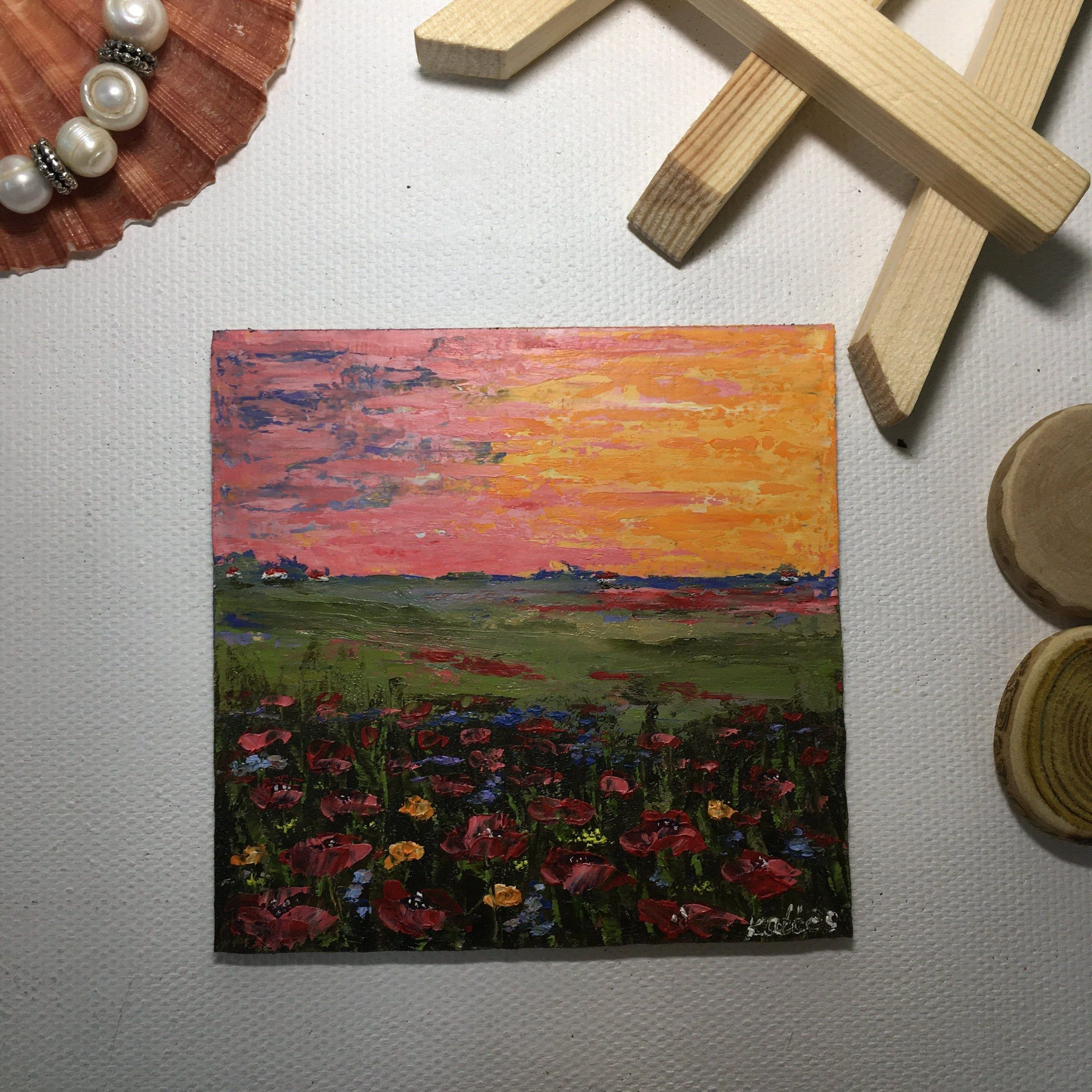 Original miniature oil painting beautiful sunset in rustic style Provencal landscape hand-painted oil painting with poppy flowers.#beautiful #flowers #handpainted #landscape #miniature #oil #original #painting #poppy #provencal #rustic #style #sunset
