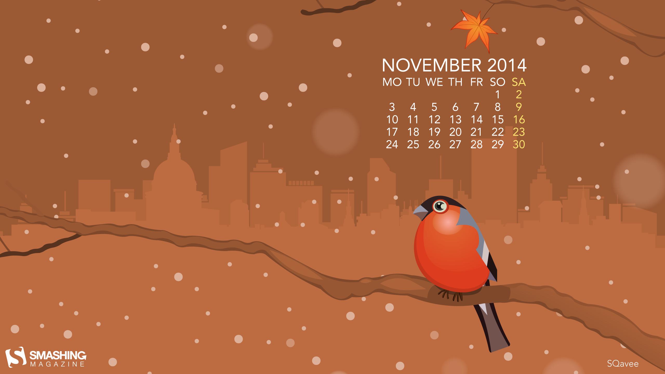 Nov 14 November Bird Cal 2560x1440 WallpaperWinter