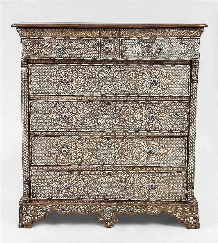 Syrian Mother Of Pearl Inlaid Chest Drawers