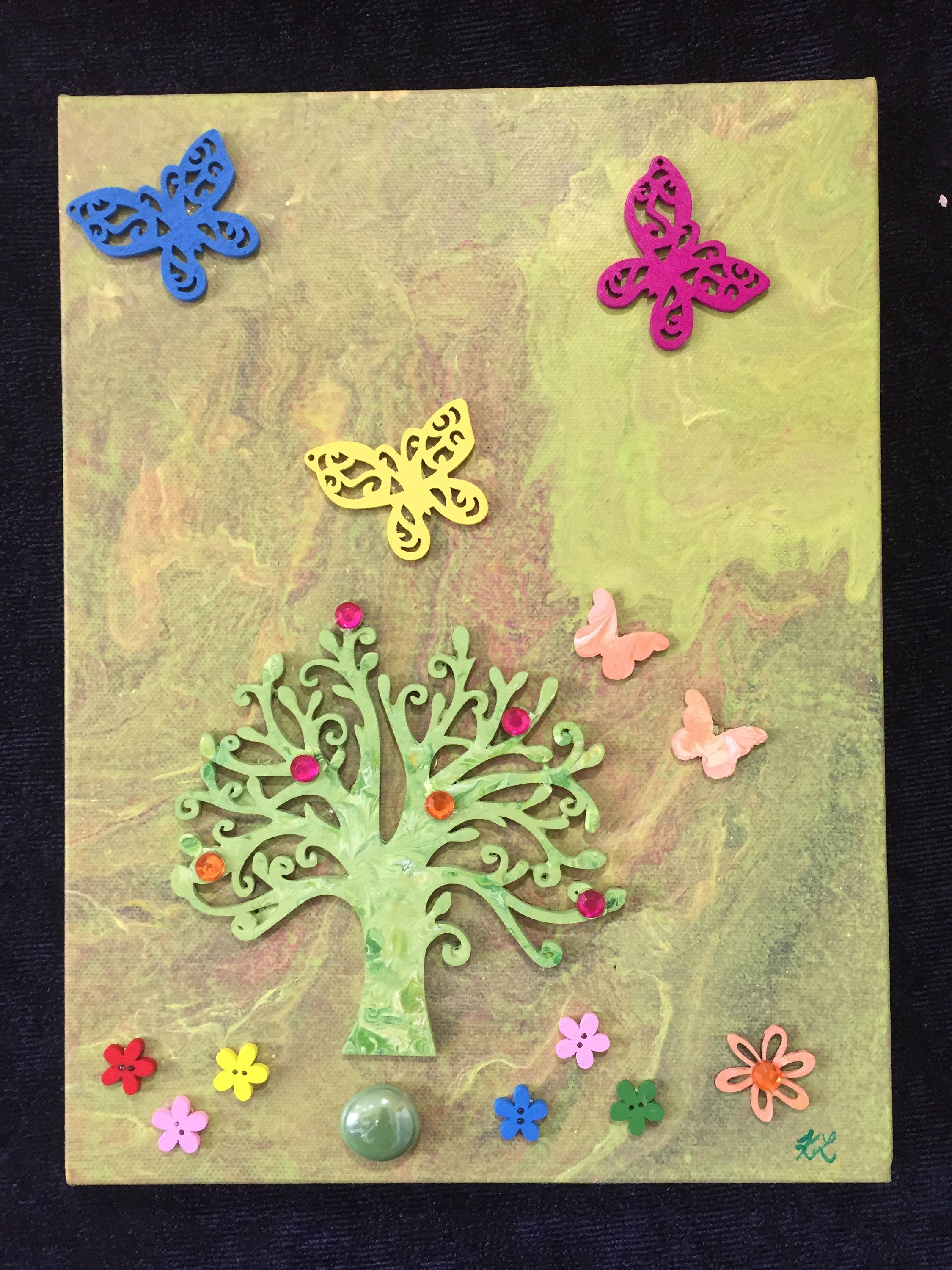 Embellished 9x12 - Original Magical Tree Butterfly 3-D Liquid Poured ...