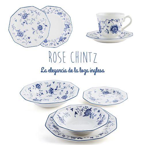 Vvajilla de loza rose chintz de churchill otras for Vajillas porcelana clasicas