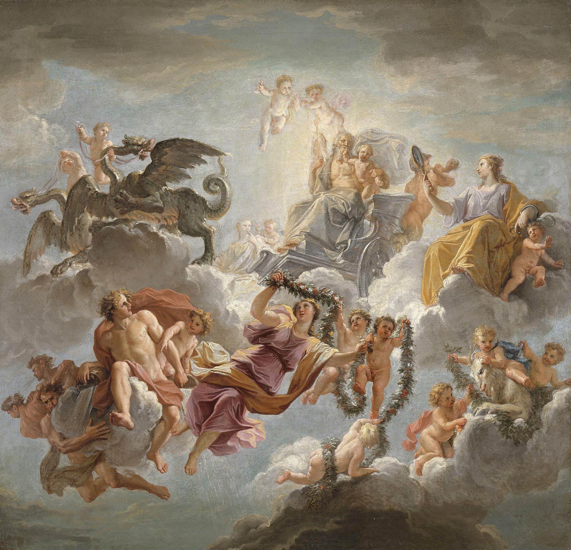 Charmant Le Triomphe De Saturne Sur Son Char Tiré Par Des Dragons Modello Pour Le  Plafond Du Cabinet De Saturne à Versailles, Noël Coypel Versailles, ...