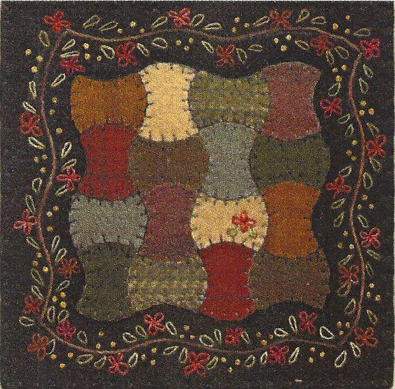 Primitive Folk Art Wool Applique Pattern  APPLE by PrimFolkArtShop, $5.25