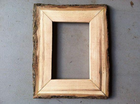 4x6 Wood Bark Frame Handmade From Hickory Wood Picture Frames Wood Picture Frames Frame