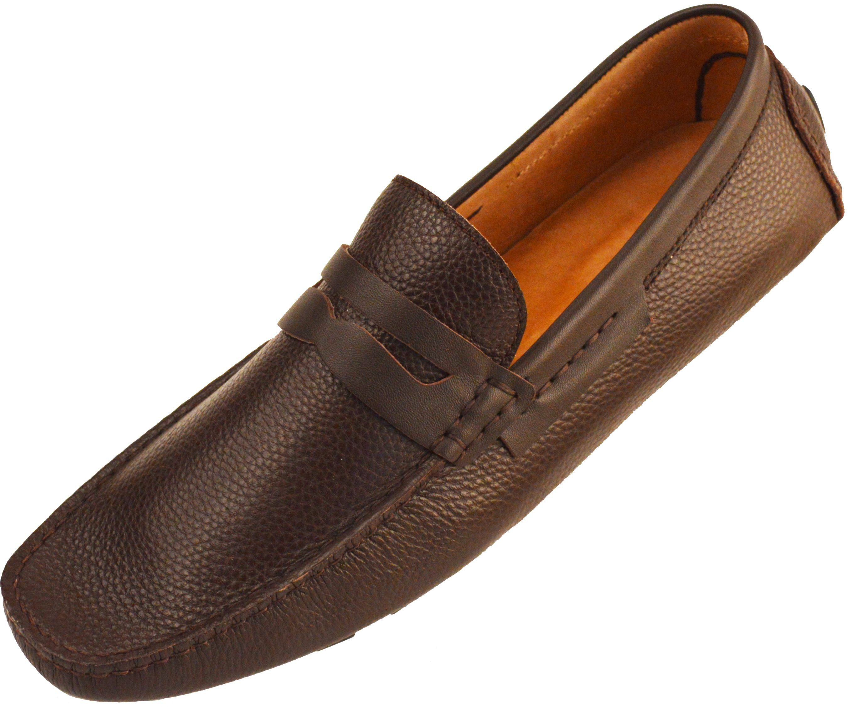 Men's Brown Leather Moccasin Slip On Loafers Causal Shoes Driving Shoes Slippers Shoes