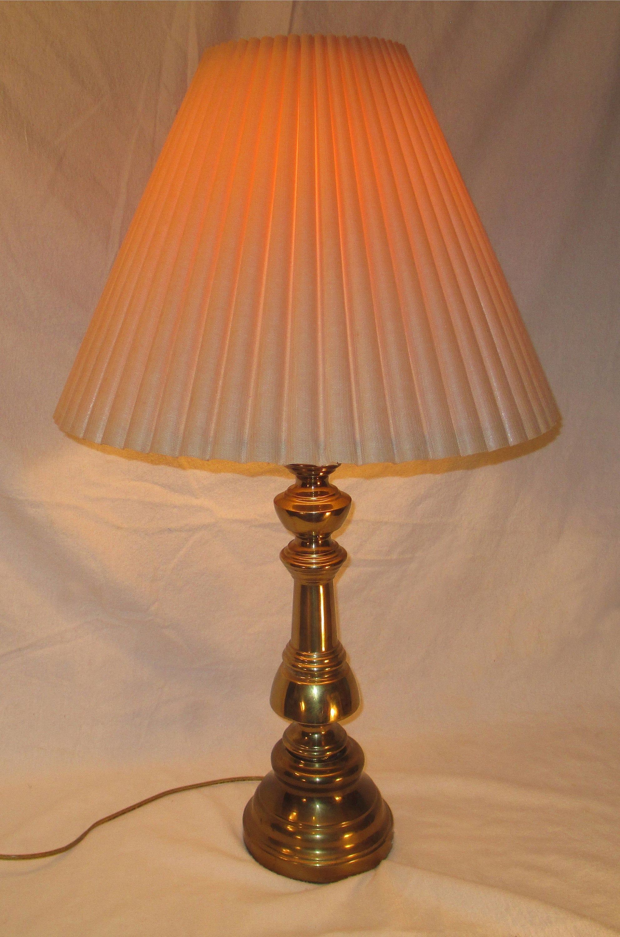 Vintage Table Lamp Brass Stiffel Like With Tan Pleated Shade Etsy In 2020 Vintage Table Lamp Brass Table Lamps Table Lamp