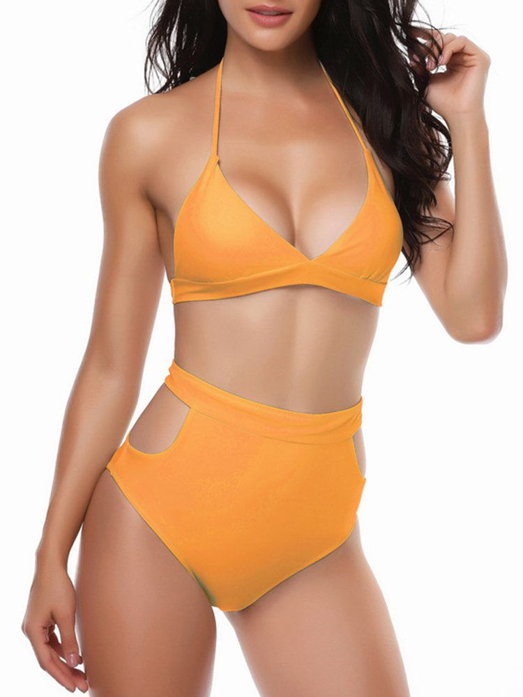 b2e9251bf15ff5 Sexy Deep V Halter High Waist Triangle Bikini Sets Swimsuit Swimwear For  Women