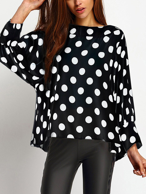 62e98aafea40 SheIn Women s Polka Dots Batwing Sleeve Top Blouse at Amazon Women s  Clothing store  Who else loves Polka Dot Fashion