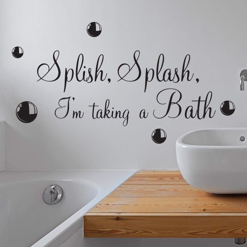 Splish splash taking a bath bathroom wall sticker vinyl art decal quotes w110