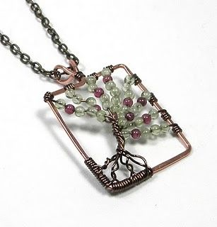 Wire bead tree necklace