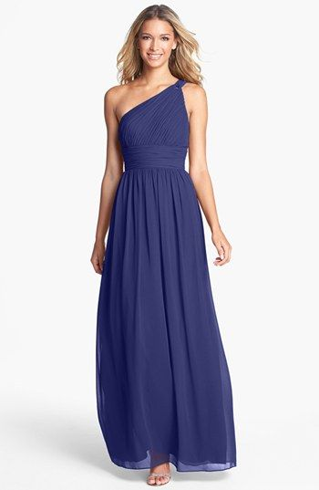 Donna Morgan Ruched One-Shoulder Chiffon Gown | Nordstrom...just wish it was more of a navy