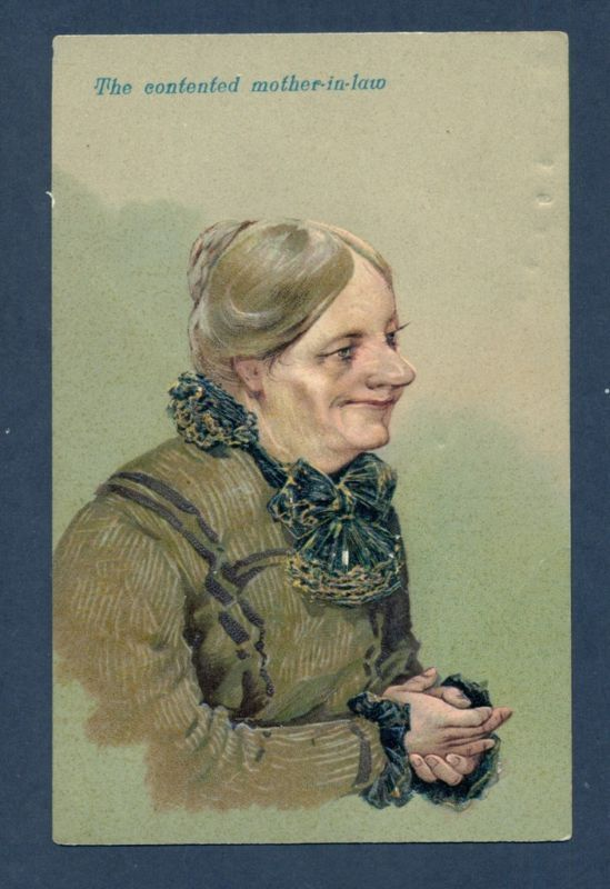 S8524 Postcard The Contented Mother-In-Law, In Green