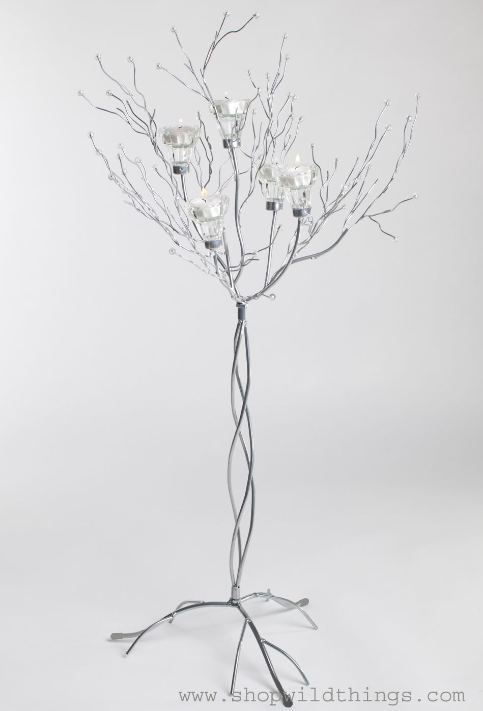 Metal Candle Tree Silver with Clear Beads - 5 cups, 36\