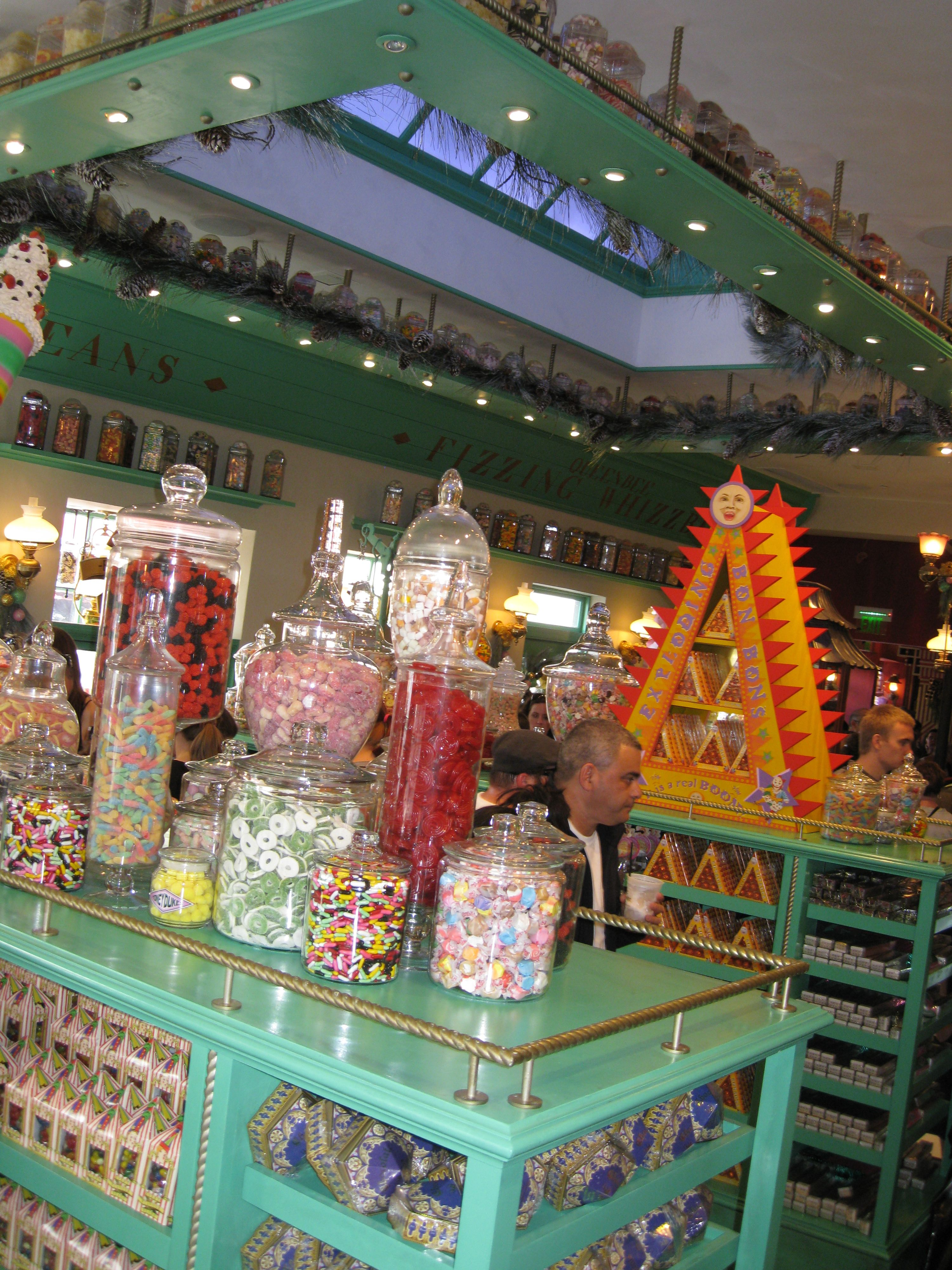 Honeydukes candy shop:: love the teal and all the shelf ...