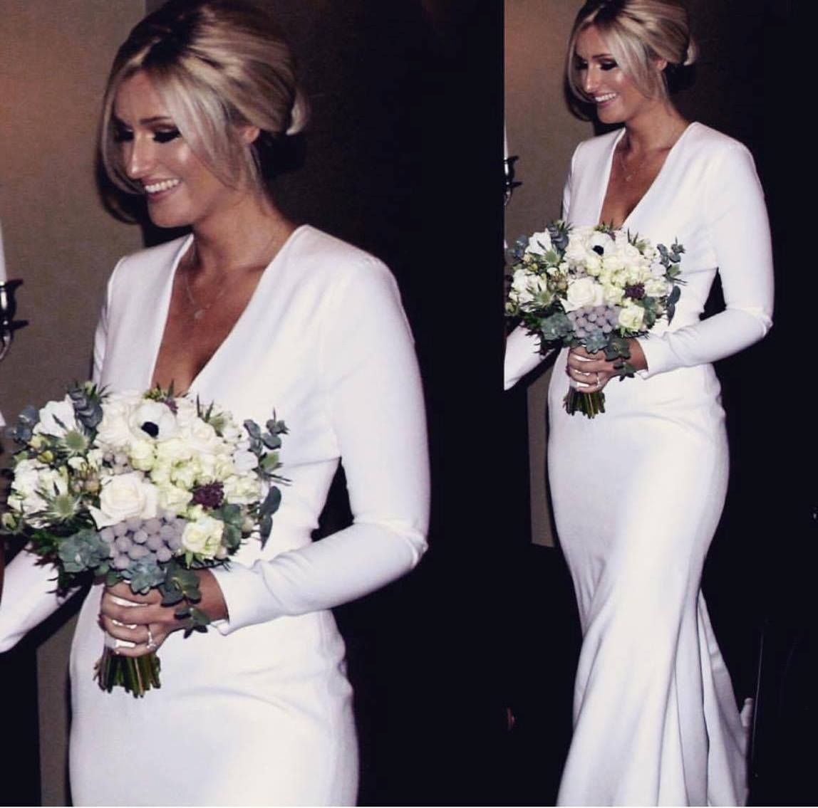 Emma Beaumont Silk Crepe Simple Wedding Dress With Low V