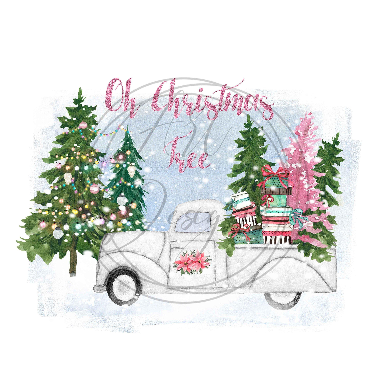 Christmas truck sublimation image pngOh Christmas Tree
