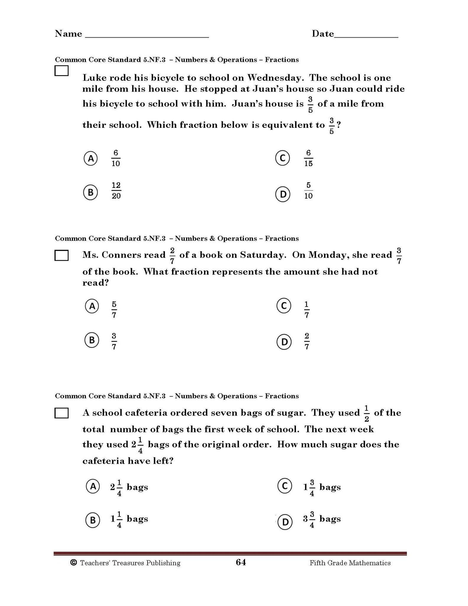 Gutsy 5th Grade Math Assessment Test Printable