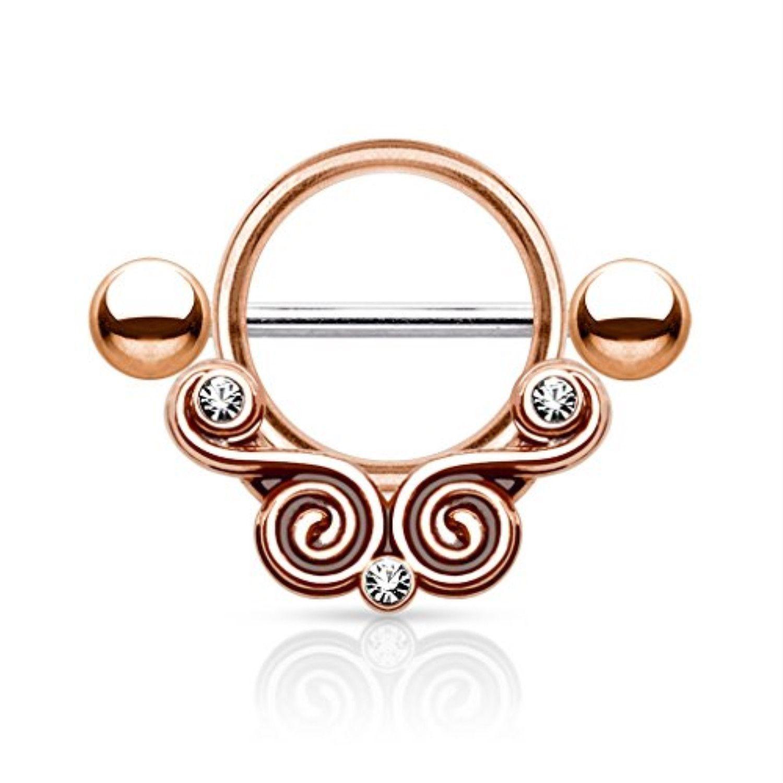 Body piercing jewelry  BodyJYou Nipple Ring Barbell Rose Goldtone CZ Floral Filigree Body