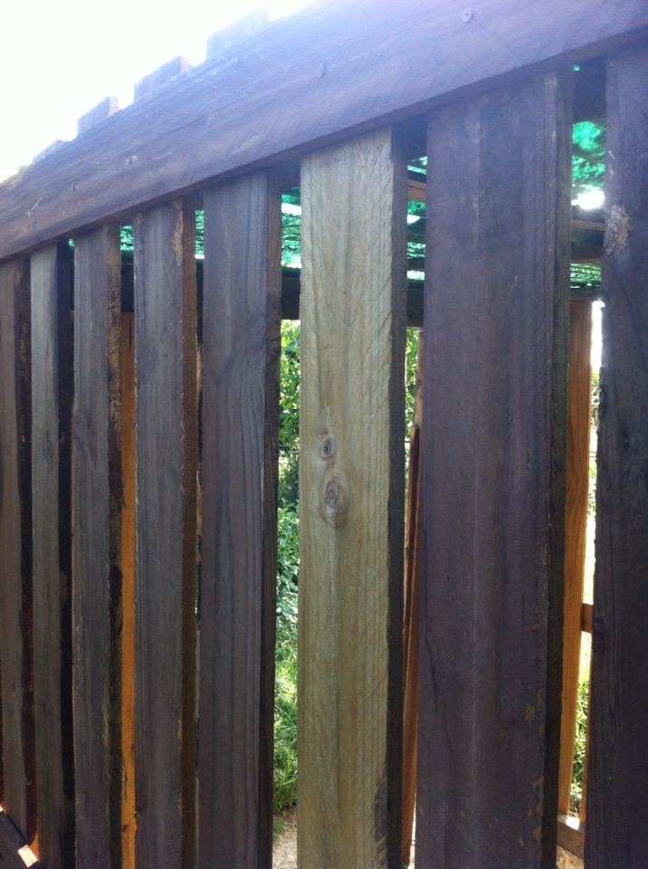 Vinegar and steel wool oxidisation on treated pine fence