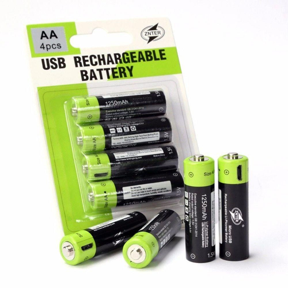 Znter Aa 1 5v 1250mah Battery 2 Pcs Usb Quick Charging Rechargeable Lithium Polymer Battery Charged By Micro Usb Cable