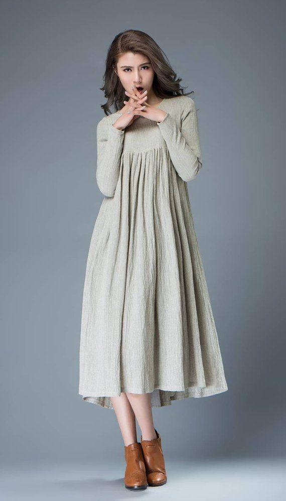 Gray Linen Dress Womens Dress Long Dress Linen Dress Gray Dress