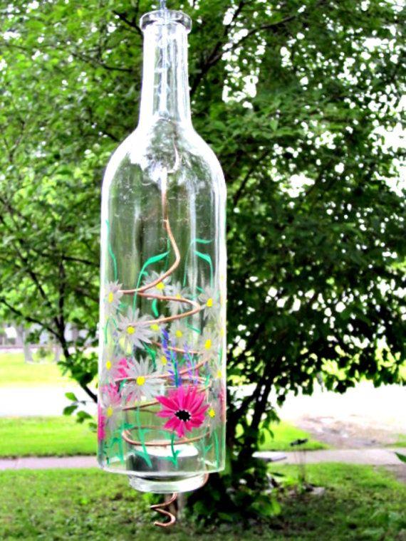 Recycled Wine Bottle Garden Light, Hanging Candle Holder ...