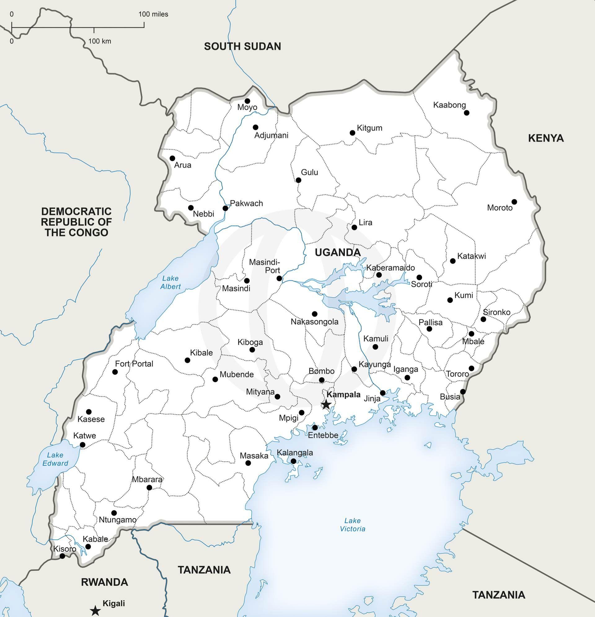 Map Of Uganda Printable And Editable Download Political Vector Maps