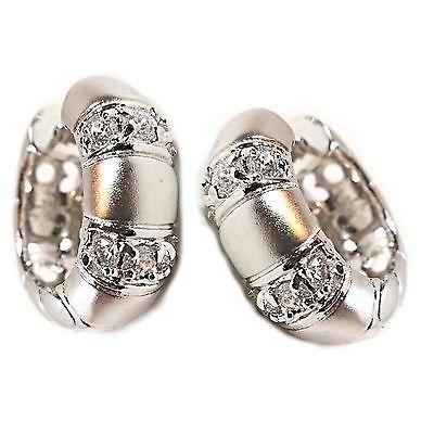 Brushed Satin Huggie Earrings Hoop Sterling Silver Cubic Zirconia Fashion e842s