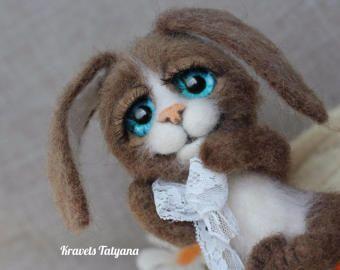 Pocket felted bunny, Needle felted animals, needle felted bunny, felt little toy, felt toy bunny, felted little hare, Pocket toy bunny, gift #needlefeltedbunny