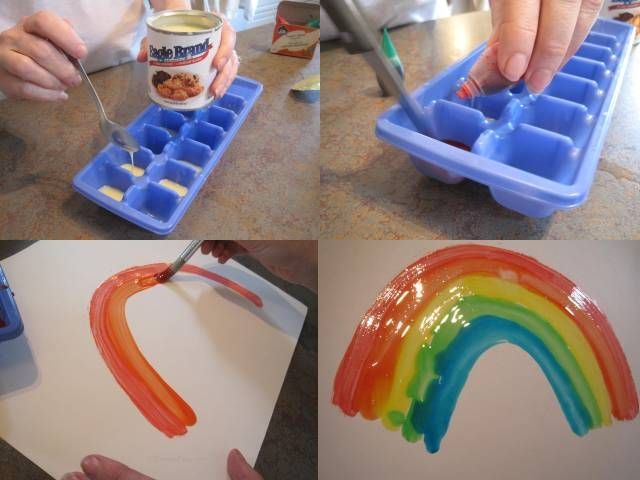 Condensed milk painting. It doesn't drip and is shiny when it dries. Could totally use this on cakes