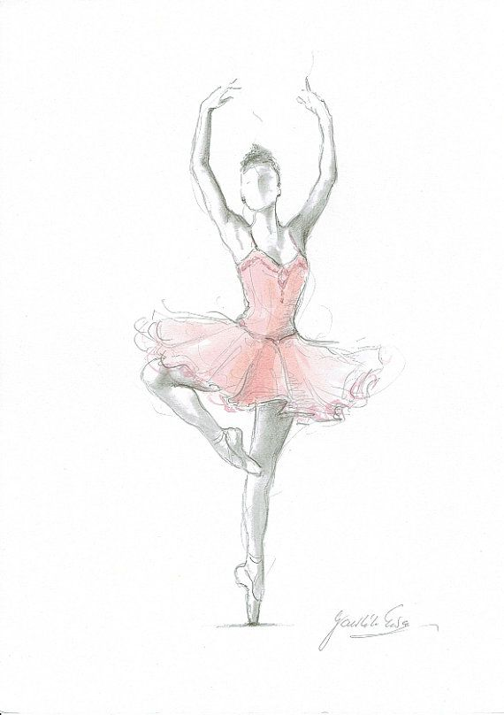 Satz von 4 drucke ballerina kunst rosa ballerina aquarell for Bild ballerina