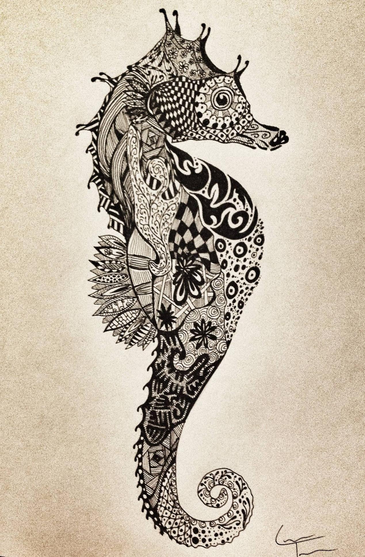 More Zentangle | Tatuajes, Dibujo y Caballos de mar