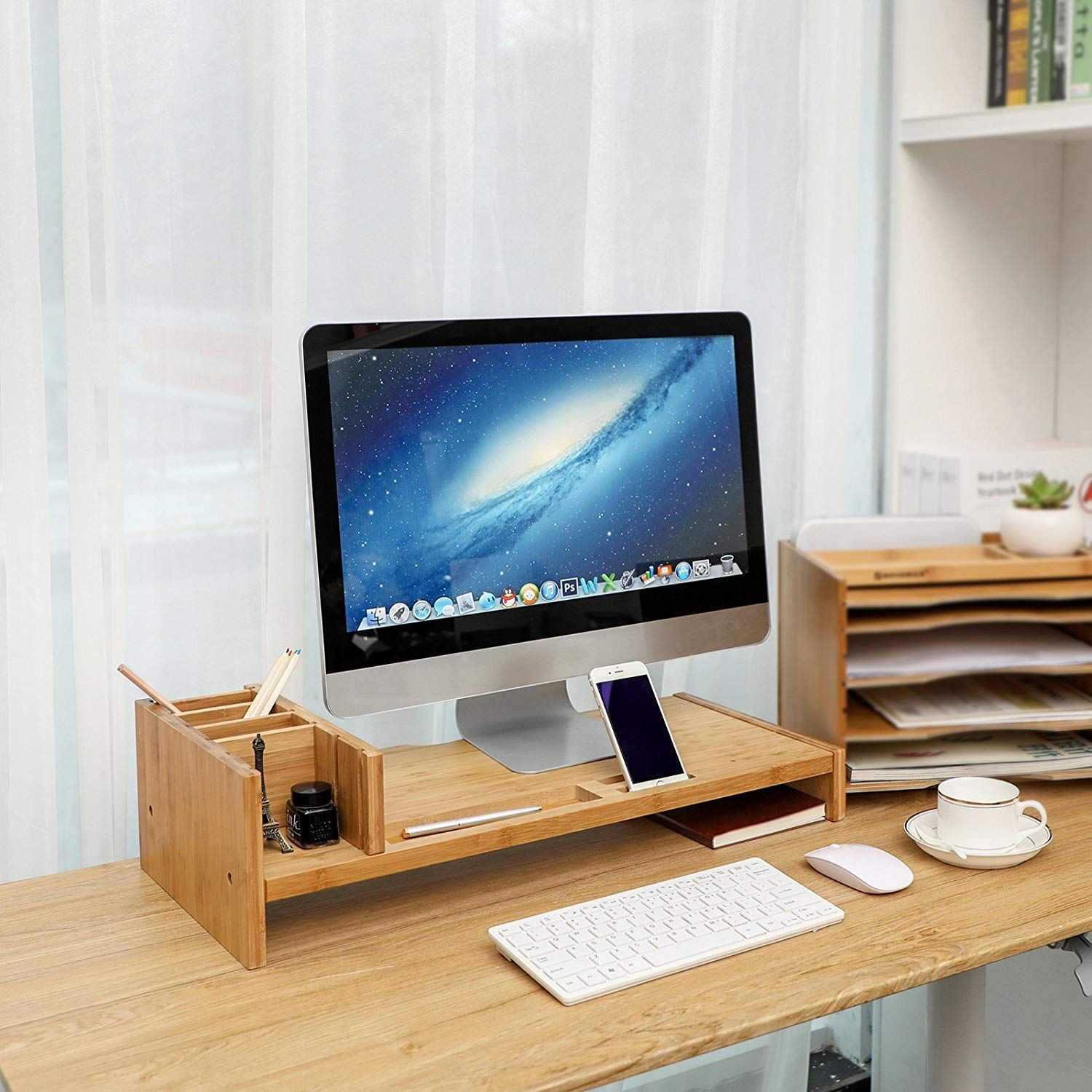 Amazon Com Songmics Bamboo Monitor Stand Riser With Adjustable Storage Organizer Laptop Stand Desk Organizer Desk Organization Cubicle Makeover Monitor Stand