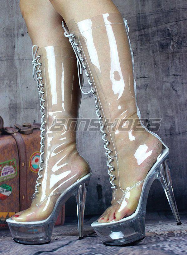 clear pvc boots. Acrylic heels