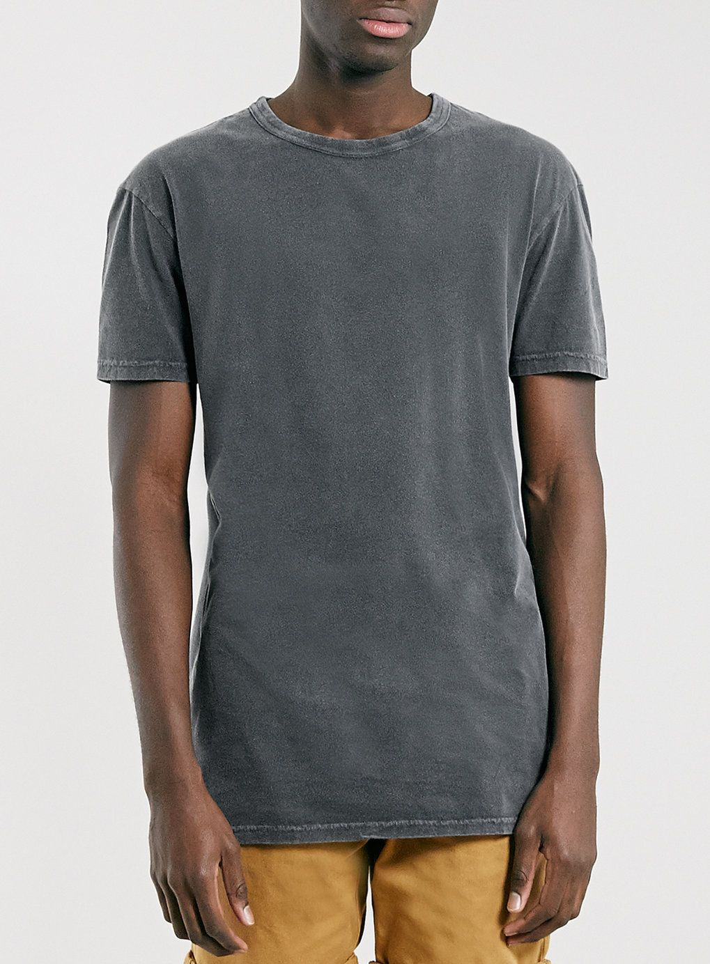 BLACK WASHED LONGLINE T-SHIRT - Men's T-shirts & Tanks - Clothing ...
