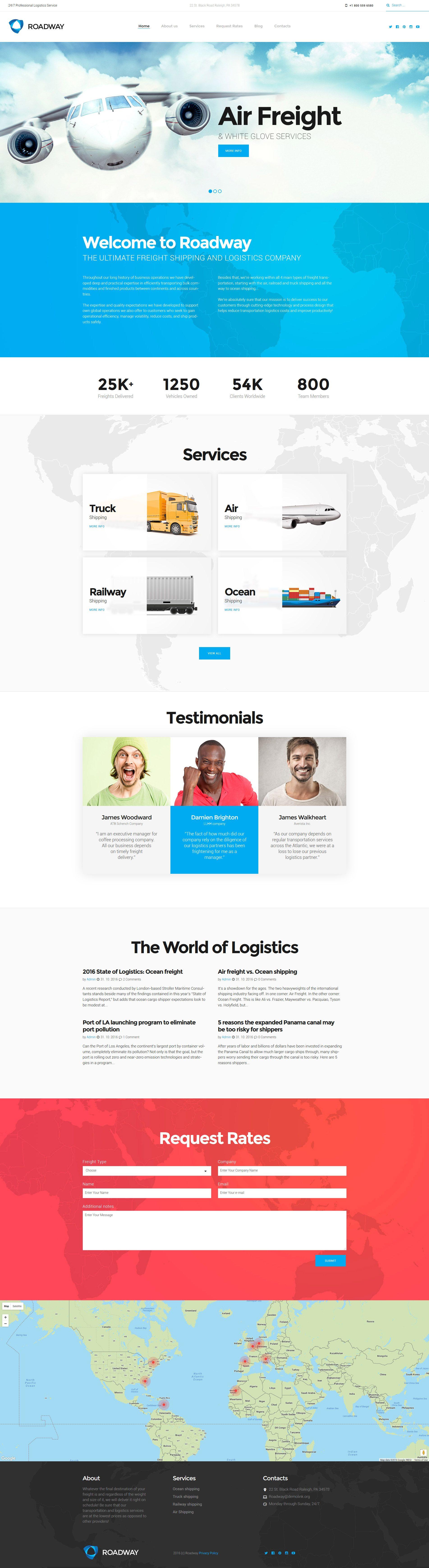 Roadway - Logistics & Transportation Services WordPress Theme | New ...