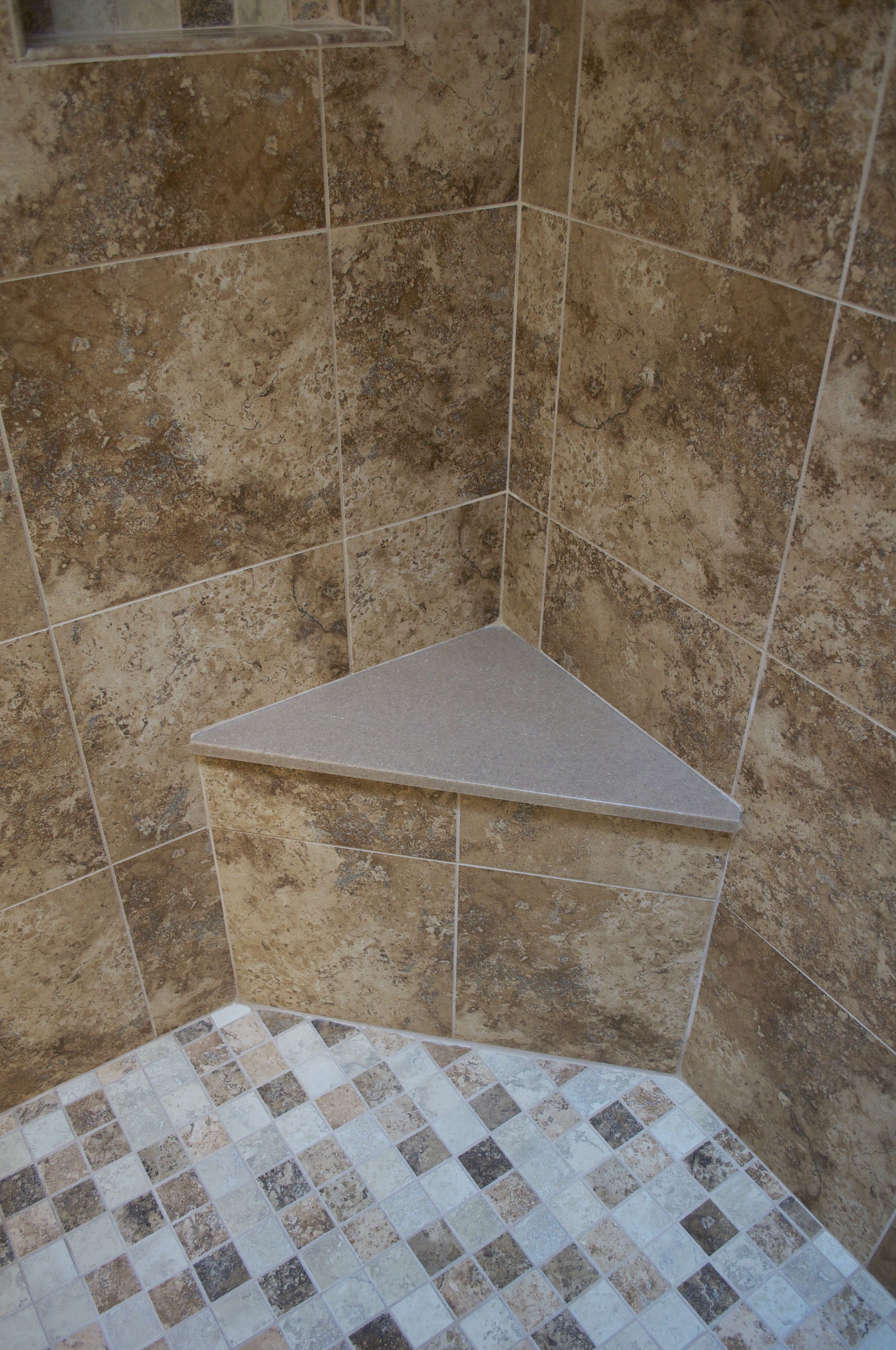 Cmh Builders Corner Shower Bench Seat With Solid Surface Top