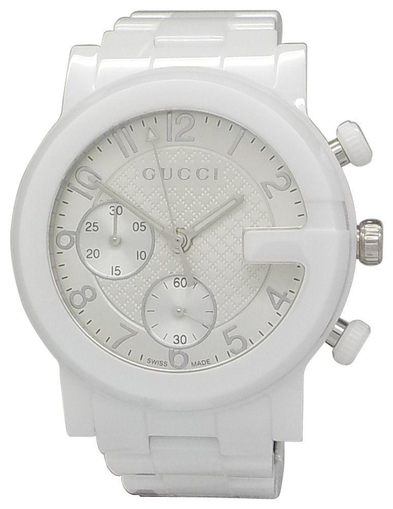 0261e106c62 Gucci YA101353 White Ceramic Chronograph Ladies