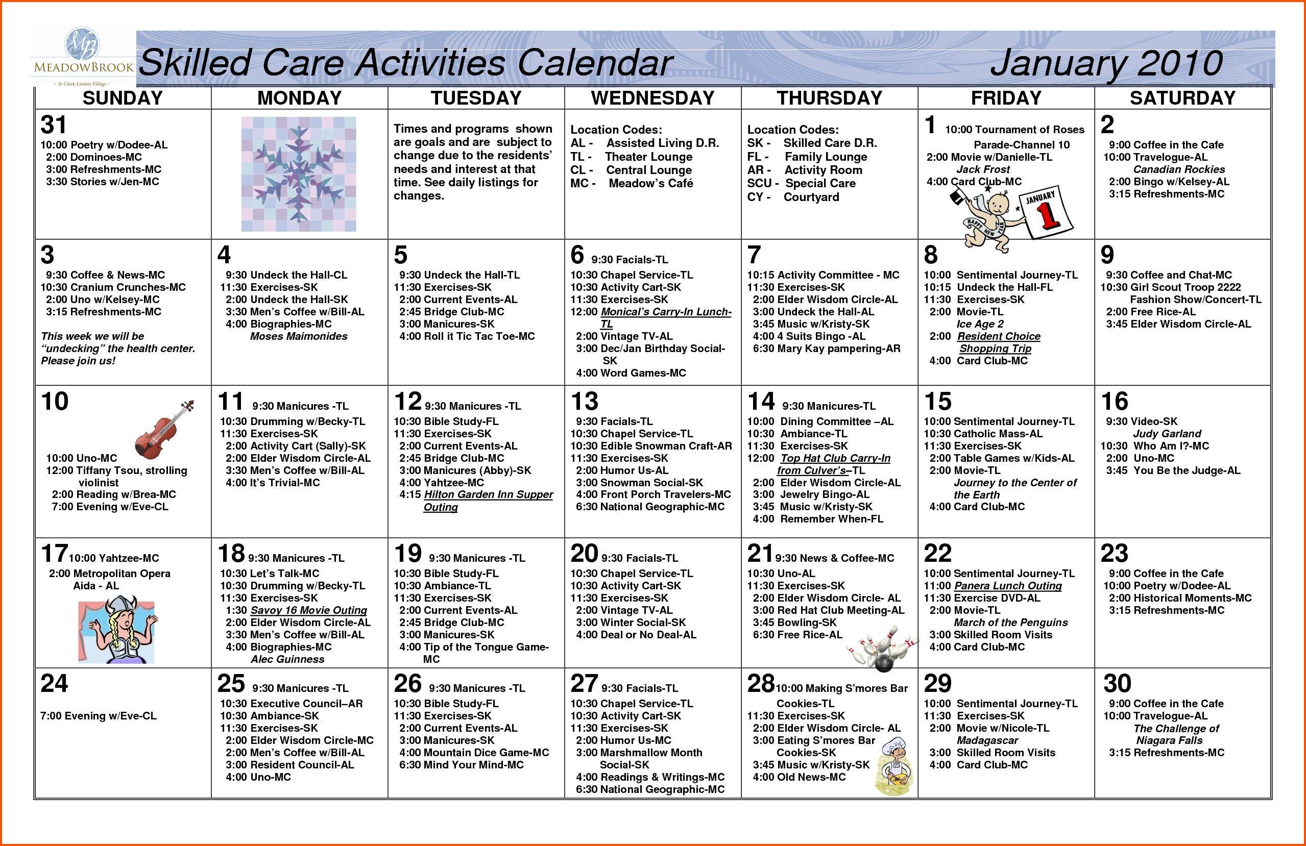 Nursing Home Activity Calendar Template Nursing Home Activities