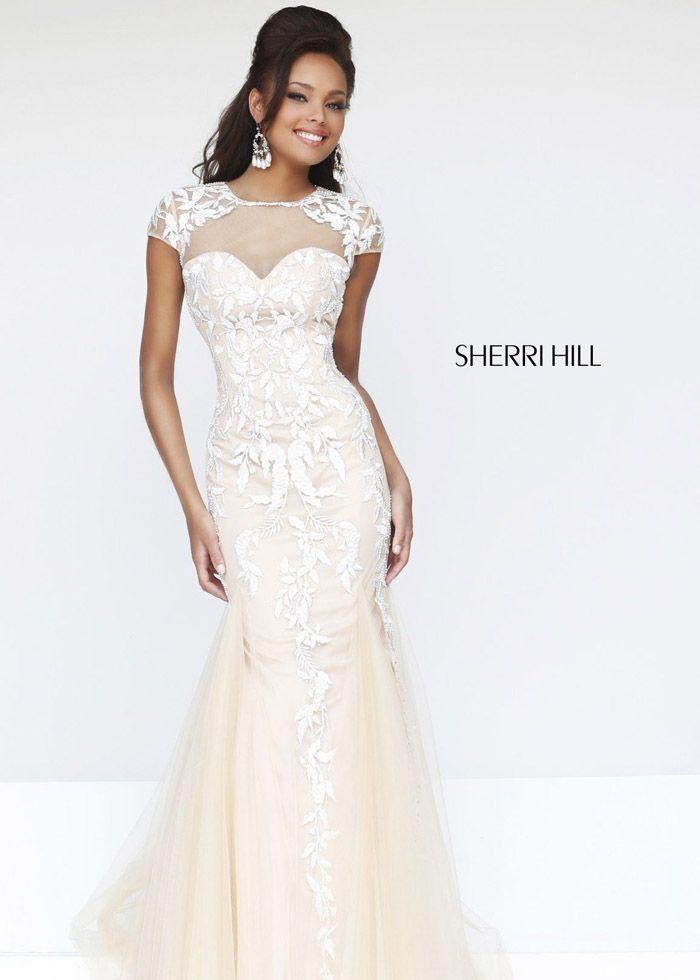 2014 Nude/White Elegant Sherri Hill 1927 Mermaid Evening Gown ...