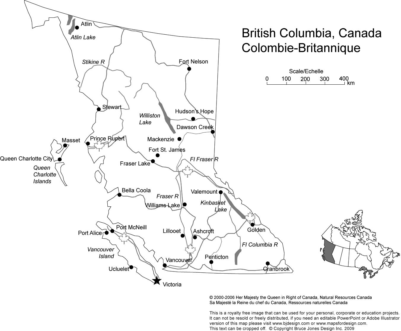 British Columbia Canada Province State Printable Blank