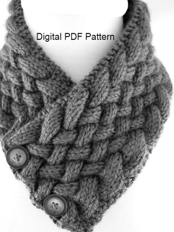 Neck Warmer In Diagonal Woven Cable PDF Knitting Pattern Is not a ...