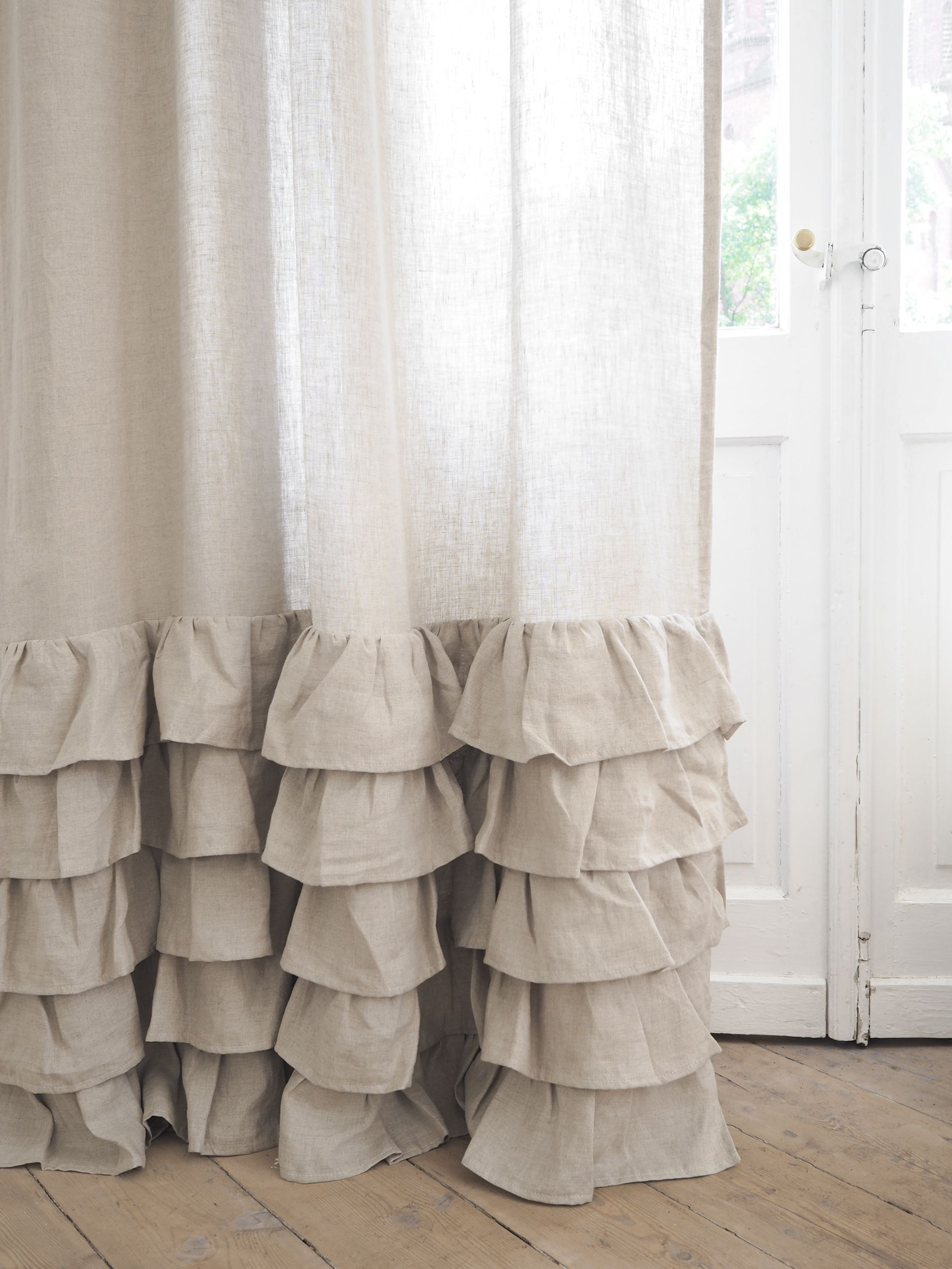 Linen Ruffled Curtain Panel Curtain Panel With Ruffles 100 Linen Natural Linen Curtain Ruffle Curtains Linen Curtains Curtains