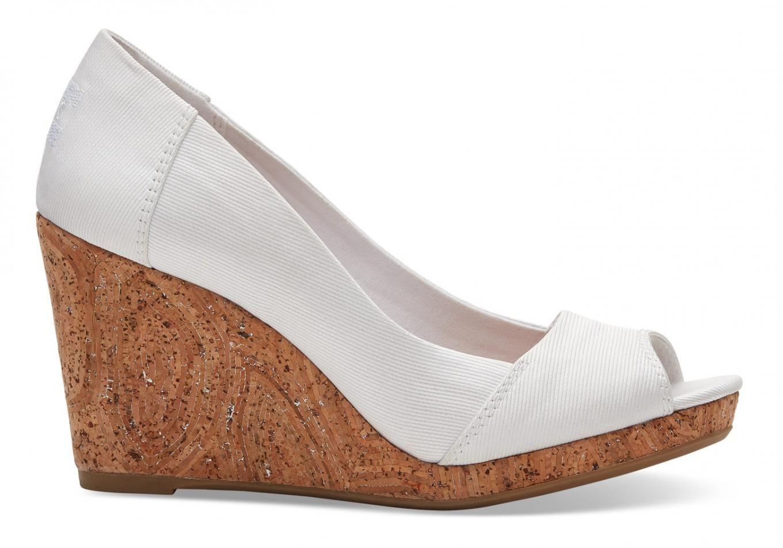 Stella Peep-Toe Wedges Womens White