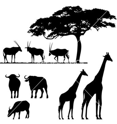 African Animals Silhouettes Vector By Lakalla Image