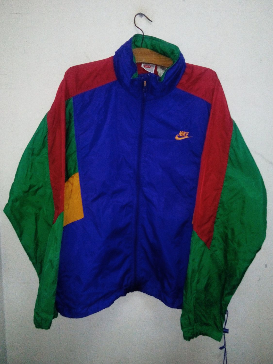 Sale Rare !! Vintage Multicolor 90 s O.G Nike Windbreaker Tuck Hoodie Jacket  Style with Fabolous Celebrity Fashion Swag Sz L by Psychovault on Etsy 0583f3b7c