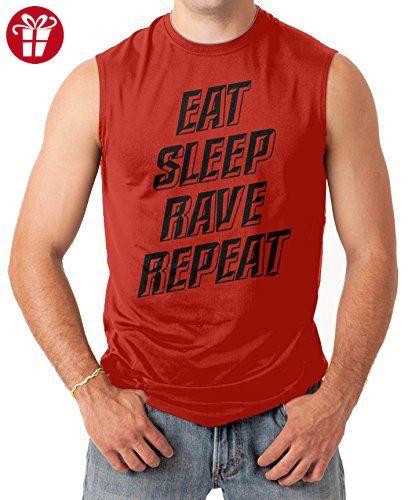 Eat Sleep Rave Repeat Men's SLEEVELESS T-shirt Tee (XL, RED) (*Amazon Partner-Link)