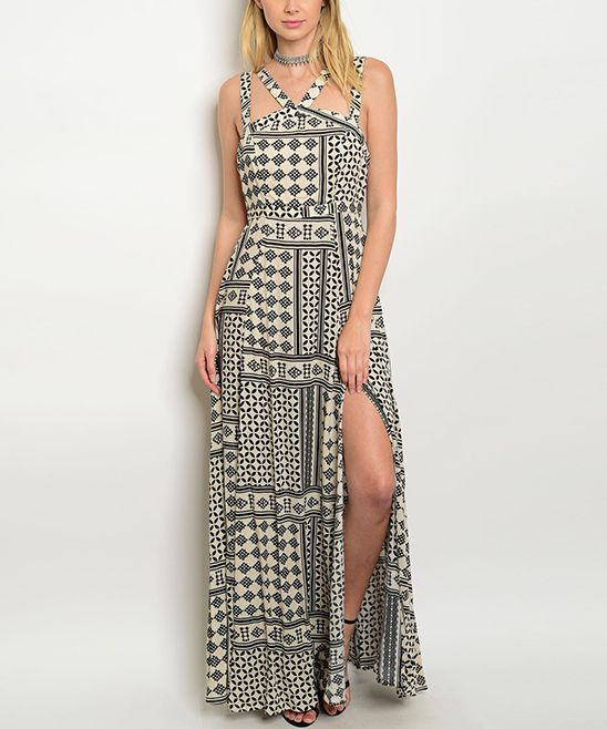 Cream & Black Geometric Maxi Dress