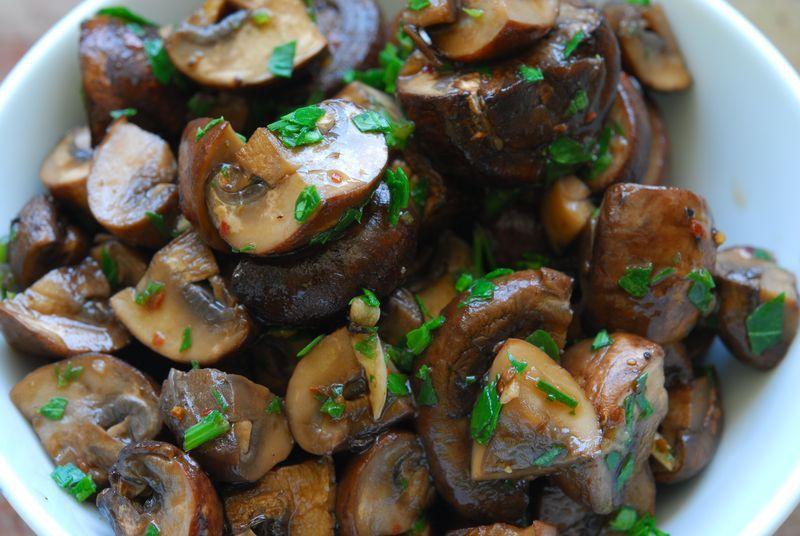 roasted mushrooms with pine nuts