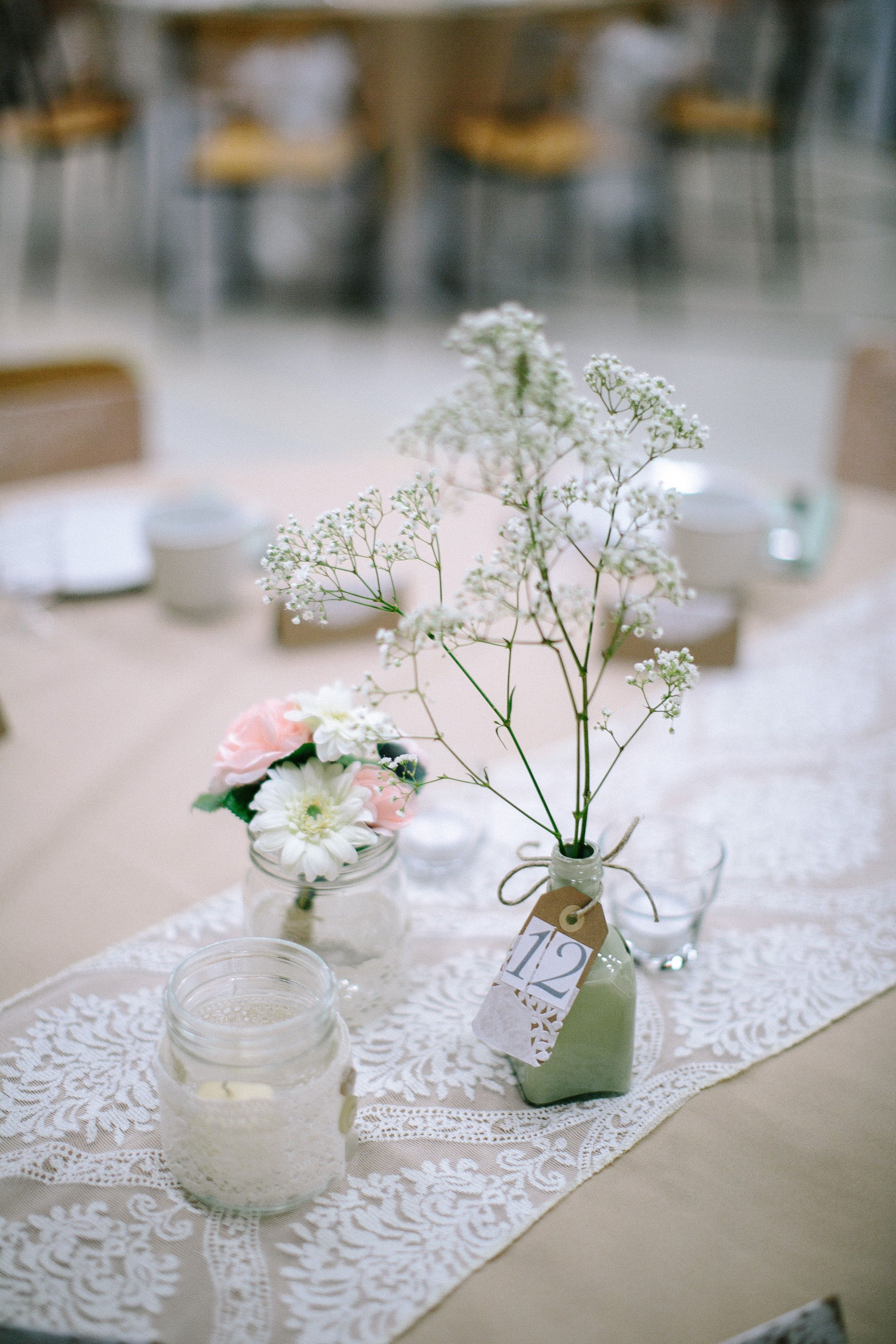 #Wedding #Reception #Centre #Pieces # Decorations #Flowers #Shabby #Chic
